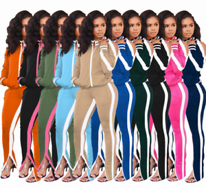 Women Casual 2PC SET Zippered Jacket Trackpants 10 COLORS Tracksuit Outfit S-XXL