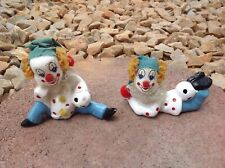 """Vintage Set of 2 China Small Ceramic Porcelain Hobo Clowns 3"""" Tall"""