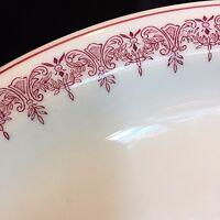 "Restaurant Ware Shenango Dinner Plate 11.5"" Off White Base Burgundy Red Trim"