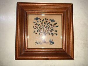 Sandy Honan Theorem Painting Framed Early American Folk Art Tree With Bluebird