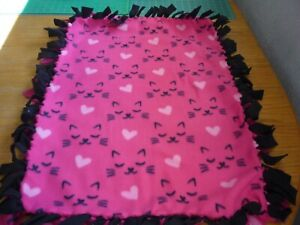 Handmade  fleece tie blanket of sleepy cat faces for a small pet
