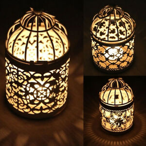 LN_ EG_ Antique Moroccan Style Hanging Lantern Hollow Candle Holder Stand Wedd