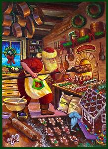 Original Acrylic ACEO PAINTING Santa Claus Christmas Cookies North Pole Mishkova