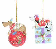 2 x assorted Gisela Graham Colourful Dog Hanging Christmas Tree Decorations