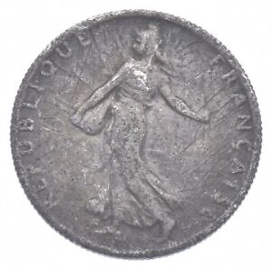 SILVER Roughly the Size of a Dime 1918 France 50 Centimes World Silver Coin *610