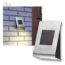 LED Wall Lamp Solar, Stainless Steel Brushed, Warm White, Light Sensor, Solar