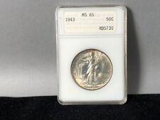 1943- P MS-65 ANACS Vintage 1st Gen ANA holder Walking Liberty Half Dollar .50