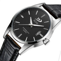 Fashion Men Military Sport Leather Casual Stainless Steel Quartz Wrist Watch