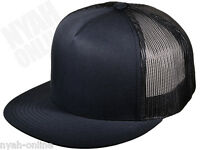 NEW *NAVY* TRUCKER CAP PLAIN MESH BASEBALL SNAPBACK FITTED FLAT PEAK HAT RETRO