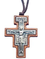 San Damiano Cross St. Francis Olive Wood Cross With Necklace Rope 1.77 inc