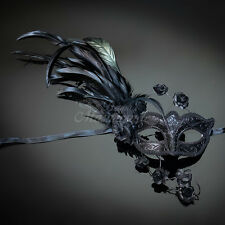Fashionable Venetian Feather Masquerade Mask w/ Rose for Women Black M33166