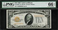 1928 $10 Gold Certificate FR-2400 - Graded PMG 66 EPQ - Gem Uncirculated
