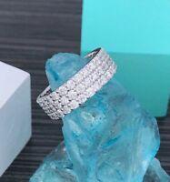 2.60 Ct 3-Row Diamond Full Eternity Wedding Anniversary Band 14k White Gold GP