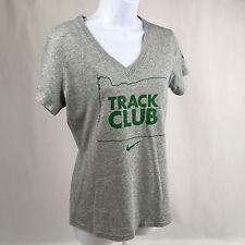 Nike Dri Fit Oregon Track Club T Shirt Womens Medium v neck gray slim fit OTC