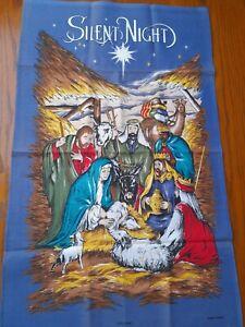 vintage Tea Towel Christmas Silent Night Mary Joseph baby Jesus stable vivid