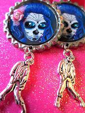 Day Of The Dead Sugar Skull With Walking Dead Zombie Dangle Charm Earrings #67