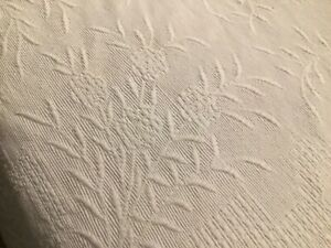 Ancien couvre lit Couverture Boutis Old Bed Cover Bedspread Coton Blanc 190x220