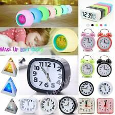 Electronic Small Alarm Clock Digital Snooze with LED Backlight Light Bedside New