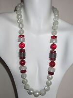 Vintage Monet Red White Gold Tone Lucite Acrylic Beaded Necklace New With Tags