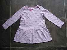 BNWT Girl's Pink & White Striped Cats Long Sleeve Cotton Knit Dress Size 1