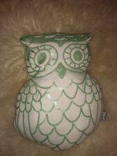 THRO Marlo Lorenz Designer Accent Pillow White Gold Sequined OWL Shape