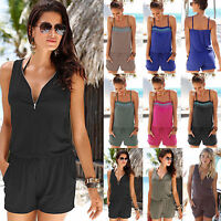 Womens Mini Playsuit Loose Jumpsuit Summer Beach Shorts Dress Romper Clubwear