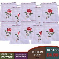 10 rose rouge brodé avec cordon de serrage pullcord pétale lavande sacs cadeau broderie