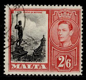 MALTA GVI SG229, 2s 6d black & scarlet, FINE USED.