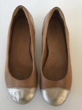 Women's INDIGO By CLARKS Brown Gold Ballet Flats Slip On Shoes Sz 6.5 M