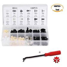 146Pcs Plastic Car Door Hood Bumper Trim Clip Body Retainer Fastener Kit + Tool