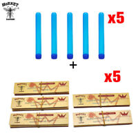 5X HORNET Brown King Size Rolling Paper With Filter Tips+Blue Plastic Doob Tubes