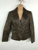 WOMENS NEW LOOK BROWN BUTTON UP REAL LEATHER SHORT JACKET COAT SIZE UK 12