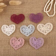 14 x Vintage Crochet Mixed Lace Heart Flower Stick Sew On Fabric Motifs Patches