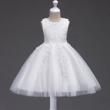 Kids Girls Lace Party Dress Bridesmaid Tulle Tutu Bow Formal Ball Gowns Dresses
