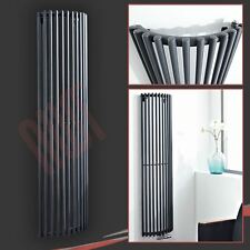 """444mm(w) x 1600mm(h) """"Bow"""" Anthracite Vertical Curved Radiator - 3016 BTUs"""