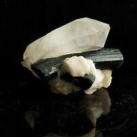 Beautiful Natural Black Tourmaline with Quartz, Collector specimen, US Seller