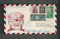 1939 USA first flight cover New York Southampton England Pilot Sign Harold Gray