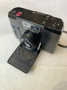 Contax T Black 35mm Rangefinder Film Camera, Case And Flash