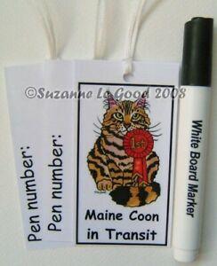 Maine Coon cat art carrier tags and pen from original painting Suzanne Le Good