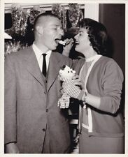 BARBARA HALE WIL WRIGHT JR. Original CANDID Ice Cream Parlor Vintage 1950s Photo