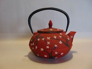 JAPANESE CAST IRON TEAPOT KETTLE -  RED WITH WHITE FLOWERS
