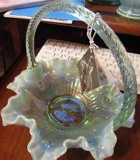 RARE ~ Vintage Fenton Opalescent Green Carnival Glass Cabbage Rose Basket