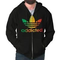 Addicted Stoner 420 Weed Athletic Marijuana Zipper Sweat Shirt Zip Sweatshirt