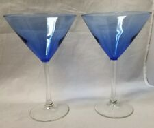 "Libbey Vina Blue Martini Glass: Set of 4 w/ Clear Stem - 12 oz - 7 3/8"" H"