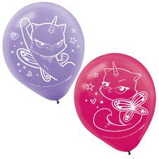 RAINBOW BUTTERFLY UNICORN KITTY LATEX BALLOONS (6) ~ Birthday Party Supplies