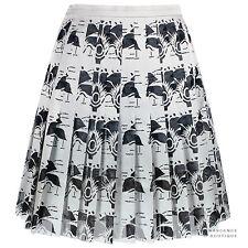 Christopher Kane Silver Grey Laser-Cut Carnation Pleated Mini Skirt UK10 IT42