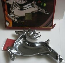 New Ib Lenox Metal Serveware Reindeer Tray Seasonal Serving Dish Christmas