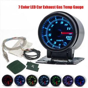 "2""/52mm 7 Color LED Car Exhaust Gas Temp Gauge Ext Temp Meter With Sensor Holder"