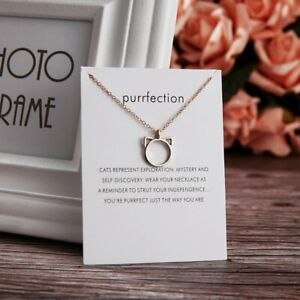 Fashion Gold Cat Animals Card Necklace Pendant Clavicle Chain Women Girl Gift