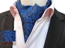 Plata Negro Gris Dorado Cachemira Azul Estampado Mezcla De Seda Corbata Ascot